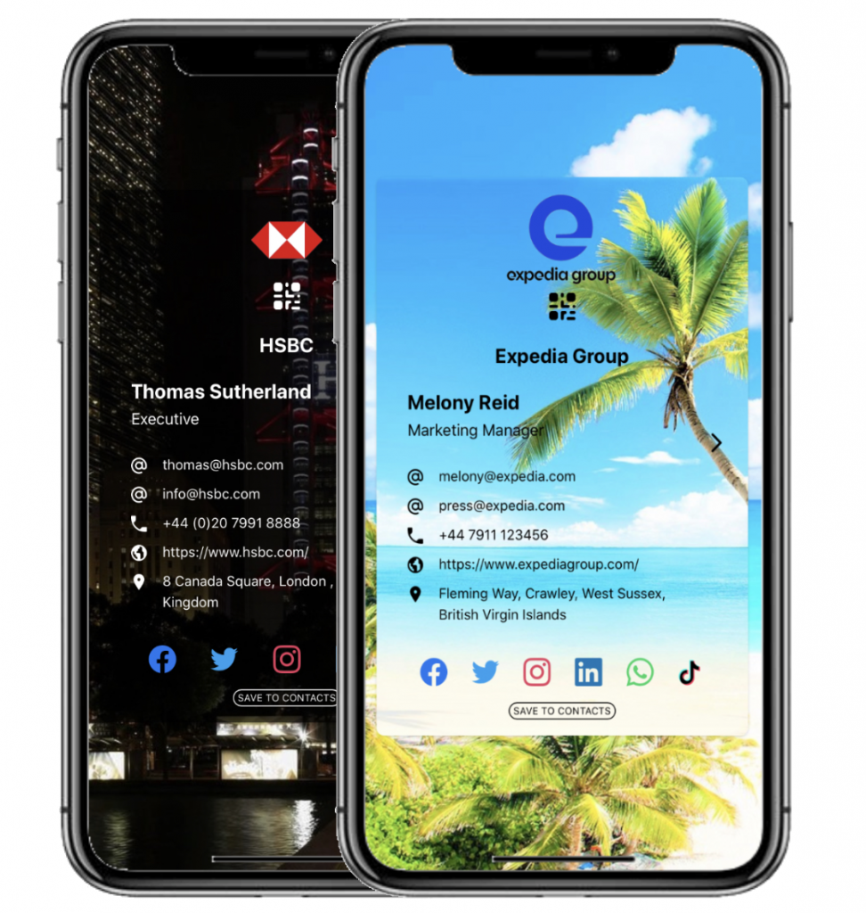 Swoppi Digital Business Card examples displayed on phone
